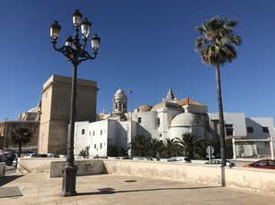 Teatro Romano and the Cadiz cathedral in Cadiz Spain
