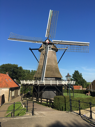 Old Dutch windmill in Sloten Friesland The Netherlands