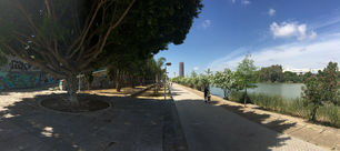 Panorama from the Calle Rey Juan Carlos I promenade next to Canal de Alfonso XIII in Seville Spain