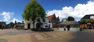 Panorama from the vismarkt in Den Burg on the island Texel in North Holland, The Netherlands