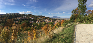 Panorama view from the Brașovia Citadel during autumn over Brasov Romania