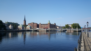 The Riddarholm Church and the Vasabron bridge in Stockholm Sweden