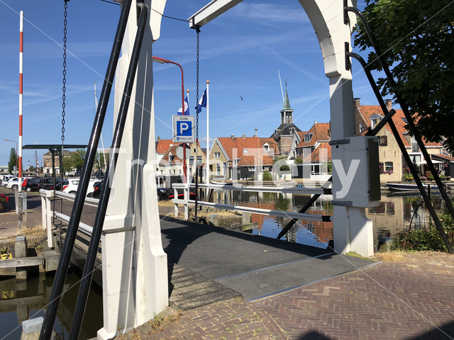 Bridge over a canal in Makkum, Friesland, The Netherlands