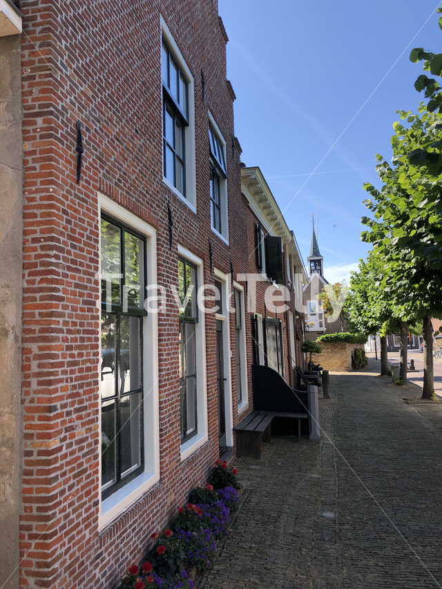 Street in the old town of Makkum, Friesland, The Netherlands