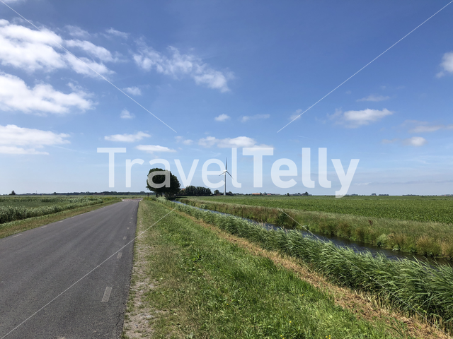 Road at the countryside of Friesland The Netherlands