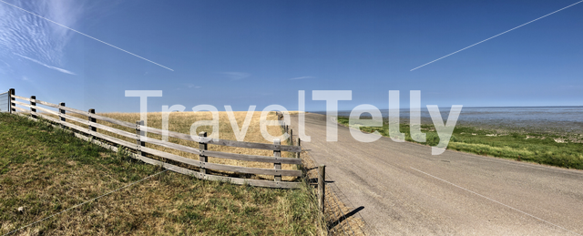 Panorama from a dry dike around the wadden sea in Friesland, The Netherlands