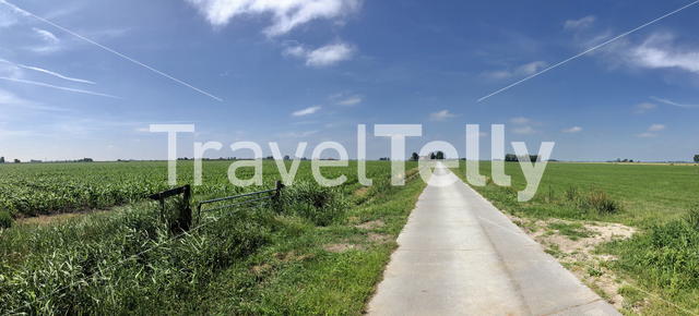 Panorama from a road towards a farm in Friesland, The Netherlands