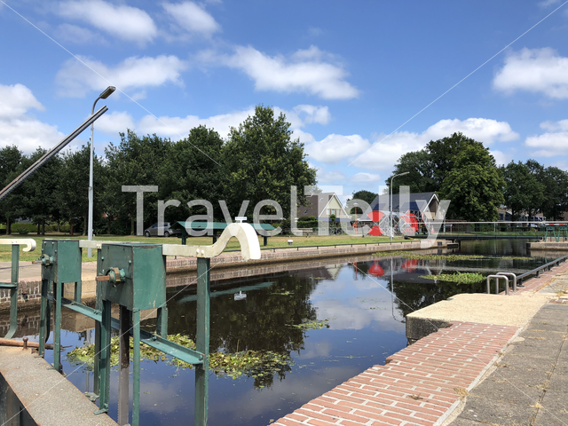 Canal lock in Oosterwolde, Friesland The Netherlands