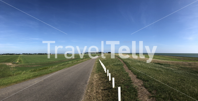 Panorama from a dyke around Warns Friesland, The Netherlands