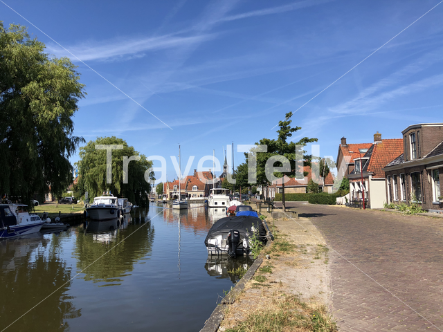 Canal through the old town of Makkum, Friesland, The Netherlands