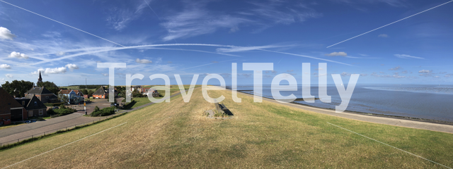 Panorama from dike at the wadden sea around Zurich in Friesland The Netherlands