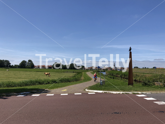 Tourist cycling towards Hindeloopen, Friesland The Netherlands