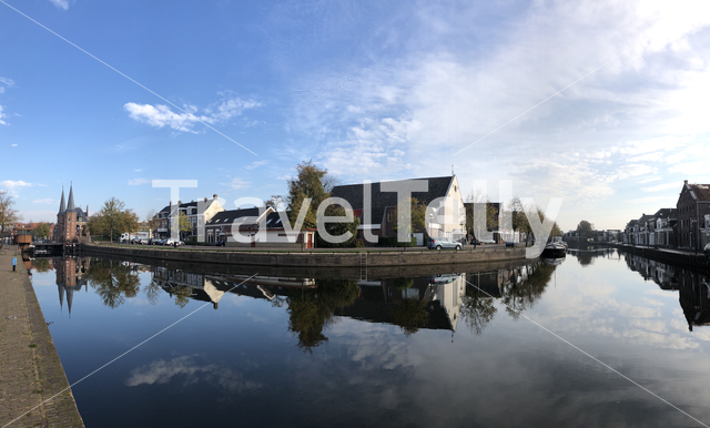 Panorama from the Waterpoort and canal in Sneek, Friesland The Netherlands
