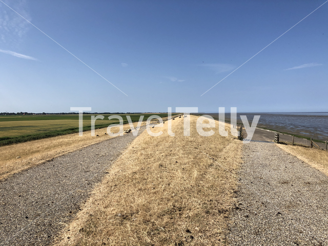 Dry dike around the wadden sea in Friesland, The Netherlands