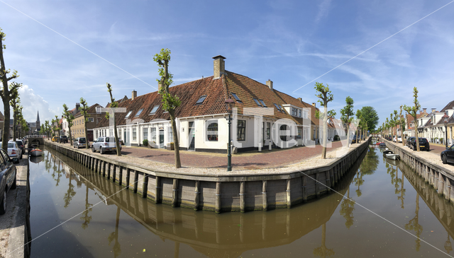 Panorama from a canal in Harlingen, Friesland The Netherlands