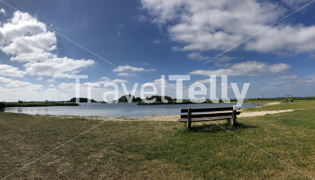 Panorama from  a small beahct at the Hegemer lake in Heeg, Friesland The Netherlands