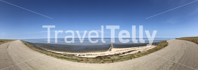 Panorama from a dike in Friesland next to the wadden sea in The Netherlands