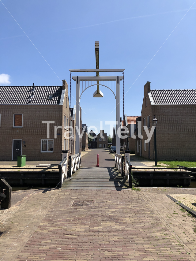Bridge over a canal in Hindeloopen, Friesland The Netherlands