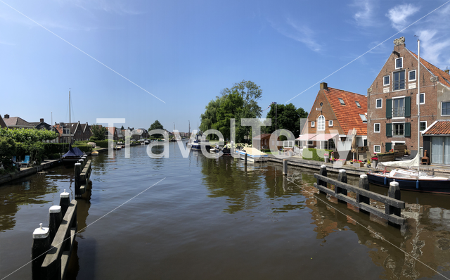 Panorama from a canal in Lemmer, Friesland The Netherlands