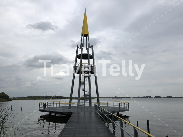Lookout tower at the Sneeker lake in Friesland The Netherlands