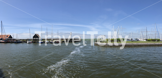 Panorama from the harbor of Hindeloopen in Friesland The Netherlands