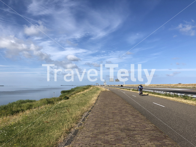 Cyclists at the Afsluitdijk in The Netherlands