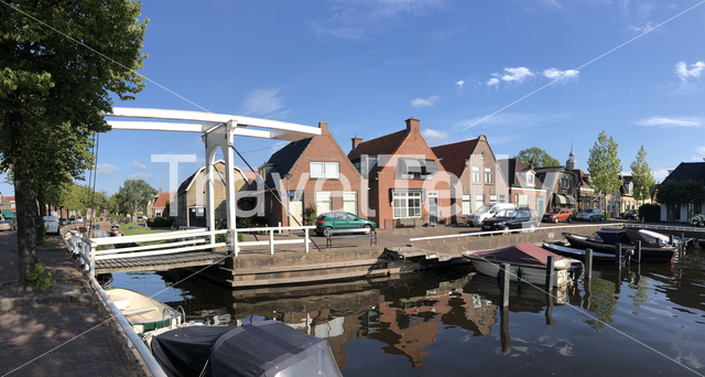 Panorama from a canal in Joure, Friesland The Netherlands