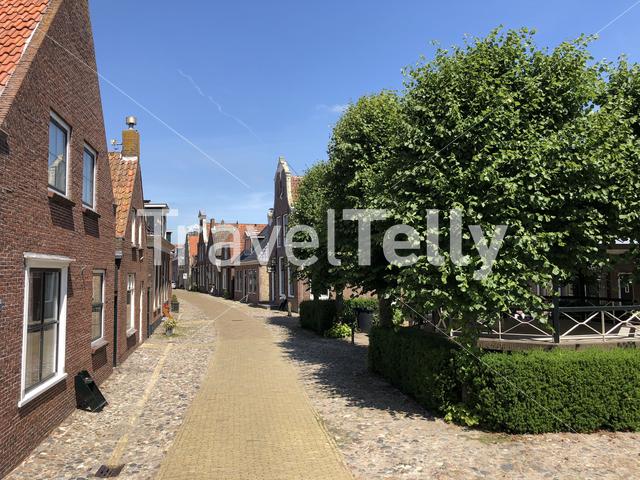 Street in the old town of Hindeloopen, Friesland The Netherlands